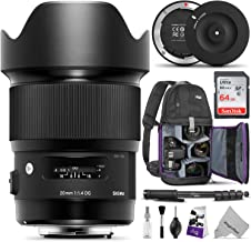 Sigma 20mm F1.4 Art DG HSM Lens for Canon EF DSLR Cameras + Sigma USB Dock with Altura Photo Essential Accessory and Travel Bundle