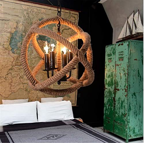 NUO-Z Lustre Suspension Chandelier éclairage Chanvre Corde Lampe Chambre Décoration voiturete De Chanvre Lustre Personnalité Restaurant Chanvre Corde éclairage