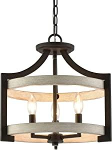 """Kira Home Woodrow 15"""" 3-Light Industrial Farmhouse Semi Flush Convertible Pendant Chandelier Light with Drum Shade, White Wood Style + Textured Black Finish"""