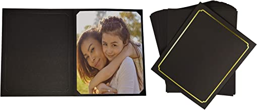 Golden State Art, Pack of 50, Black Cardboard Photo Folder for 8x10/6x8 Pictures - Great for Portraits, Wedding/Graduation/Family/Baby Photos