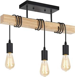 Rustic Vintage Wood Ceiling Light, 3-Light Retro Semi Flush Mount Ceiling Light Fixture, Industrial Farmhouse Ceiling Lamp...