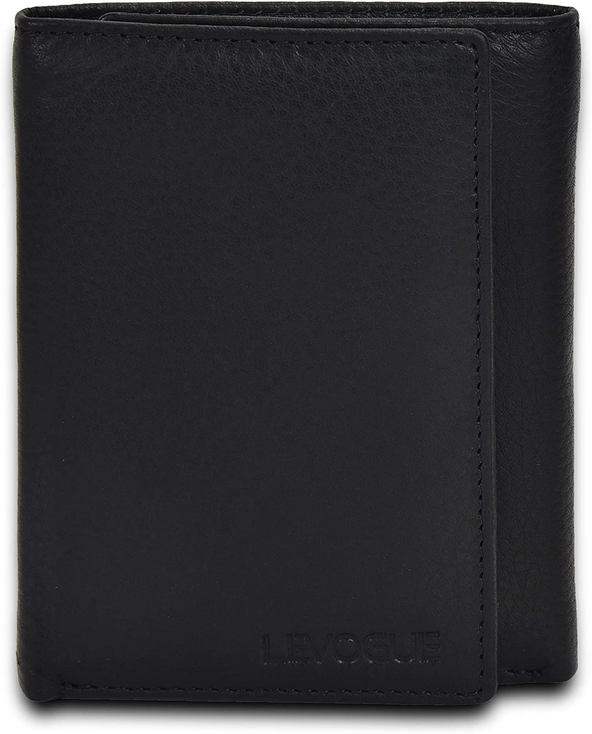 Genuine Leather RFID Blocking Slim Trifold Wallet for Men with 7 Cards+1 ID Window+2 Note Compartments