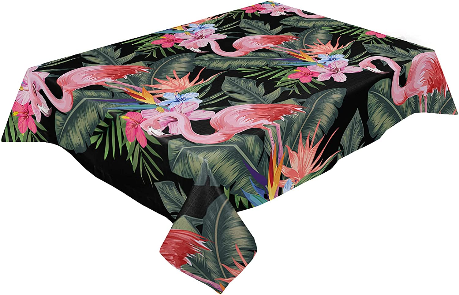 NEW before selling ☆ Savannan Table Cloths Tropical Plants Flamingo In a popularity Pink Leaves Flow