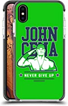 Official WWE John Cena Never Give Up 2 2018/19 Superstars 4 Black Shockproof Gel Bumper Case for iPhone Xs Max