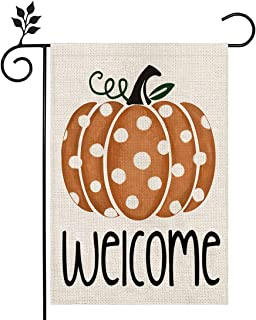 CROWNED BEAUTY Fall Welcome Garden Flag Pumpkin Thanksgiving 12×18 Inch Double Sided Vertical Yard Thanksgiving Seasonal H...