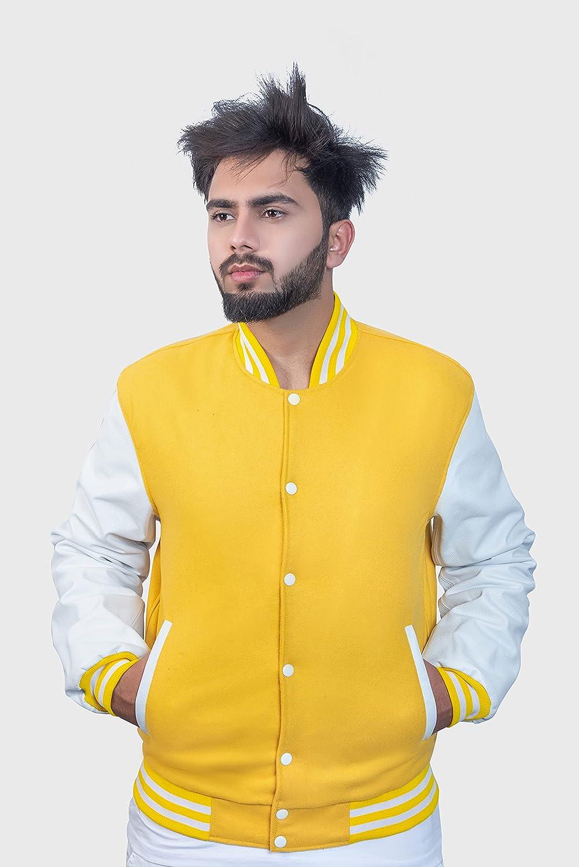 Men's Varsity Jacket Genuine Leather Sleeve and Wool Blend Letterman Boys College Varsity Jackets XXS-5XL