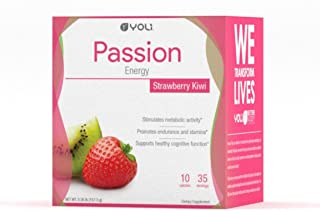 Yoli Passion Energy Drink - Sugar Free - Sweetwened with Stevia - Long Lasting Healthy Energy Without Jitters (Box, Kiwi Strawberry)