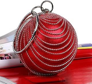 Redland Art Women's Fashion Sparkly Round Clutch Bag Wristlet Evening Handbag Catching Purse Bag for Wedding Party (Color : Red)