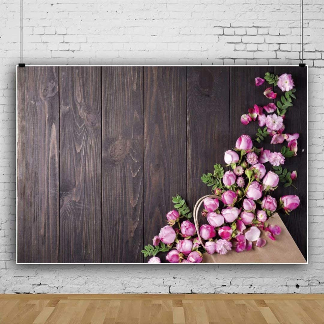 DaShan 14x10ft Floral Rustic Flowers Backdrop for Mothers Day Valentines Day Love Photography Wedding Romantic Bridal Shower Girl Couples Anniversary Background Newborn Wall Decor Photo Props