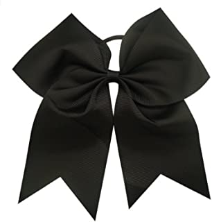 Kenz Laurenz Cheer Bows Black Cheerleading Softball - Gifts for Girls and Women Team Bow with Ponytail Holder Complete Your Cheerleader Outfit Uniform Strong Hair Ties Bands Elastics