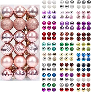 Best walsport Christmas Balls Ornaments for Xmas Tree, 36ct Plastic Shatterproof Baubles Colored and Glitter Christmas Party Decoration 1.6inch Set (Rose Gold) Review