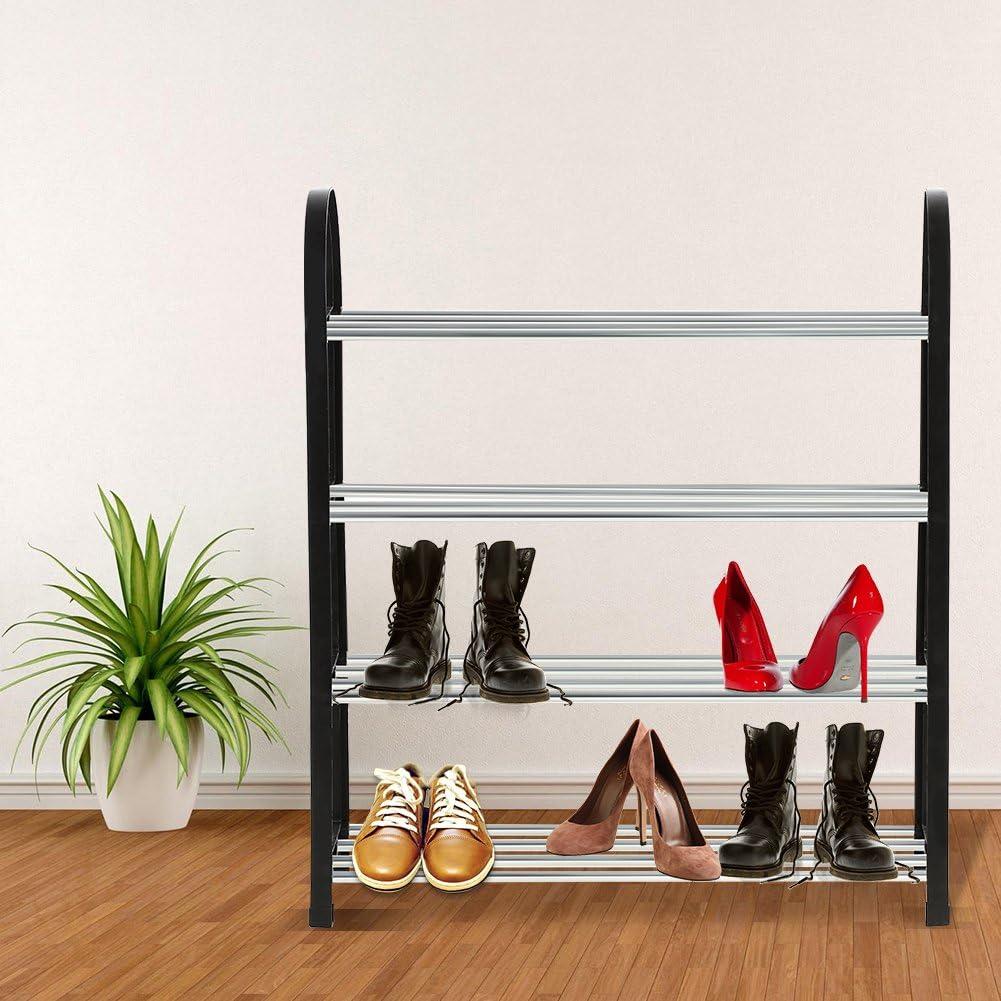 Aluminium Metall Stehend Schuhregal DIY Schuhe Lagerregal Home Organizer 3//4 Ebenen Sparen Platz Queen.Y Schuhregal Kunststoff