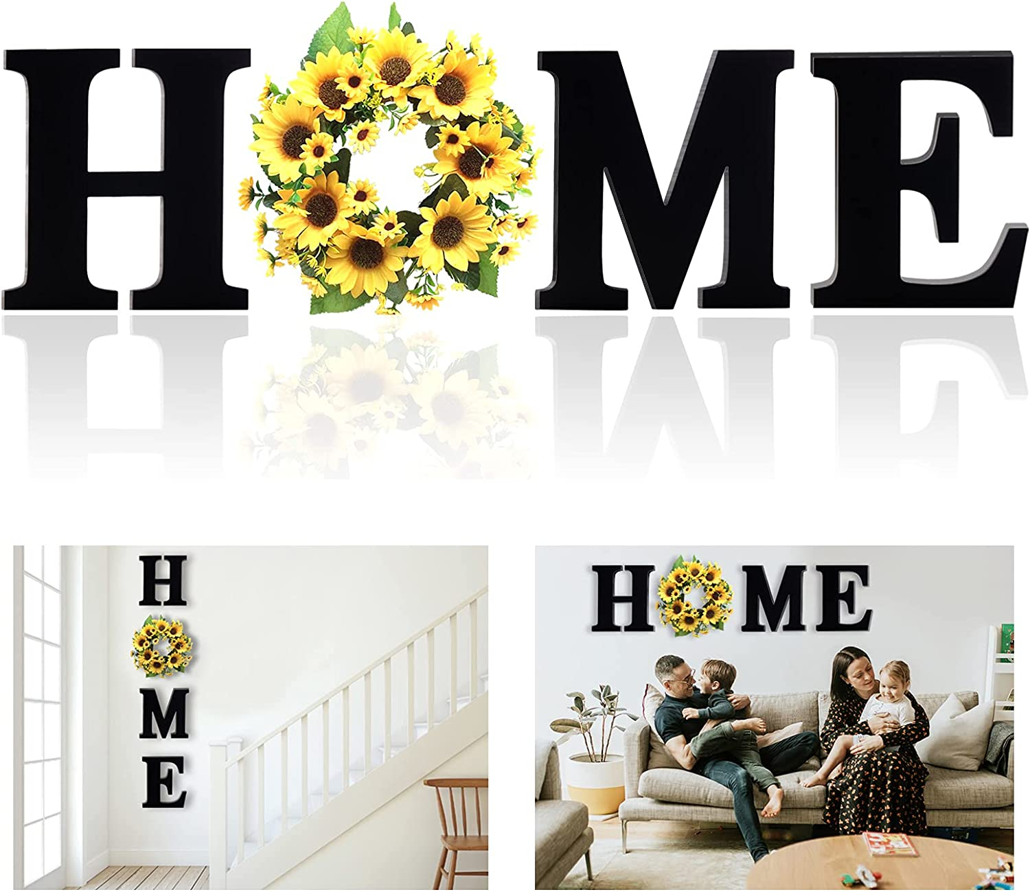 Guudoo Sunflower Kitchen Decor, Rustic Sunflower Wall Decor, Farmhouse Wooden Home Sign with 12 Inch Sunflower Wreath for O, Wall Hanging Wood Home Letters Decoration for House Living Room Entryway