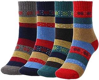 IYOU, Calcetines de invierno cálidos rojos, gruesos y acogedores, de lana, vintage, más cachemira, senderismo, atlético, calcetines de lana para mujeres y hombres (4 pares)