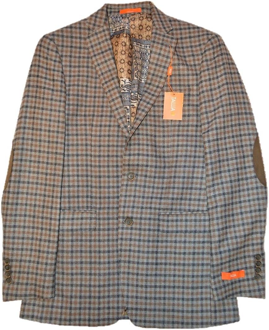 Tallia Men's Grey/Brown Wool Blazer, US 40L