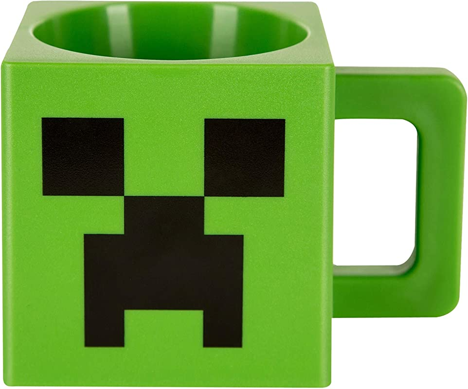 JINX Minecraft Creeper Face Square Plastic Mug Green 9 8 Ounces