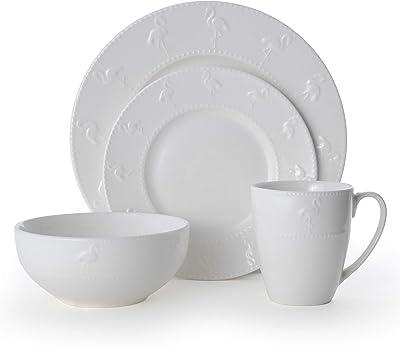 Pfaltzgraff Flamingo 16-Piece Dinnerware Set, white