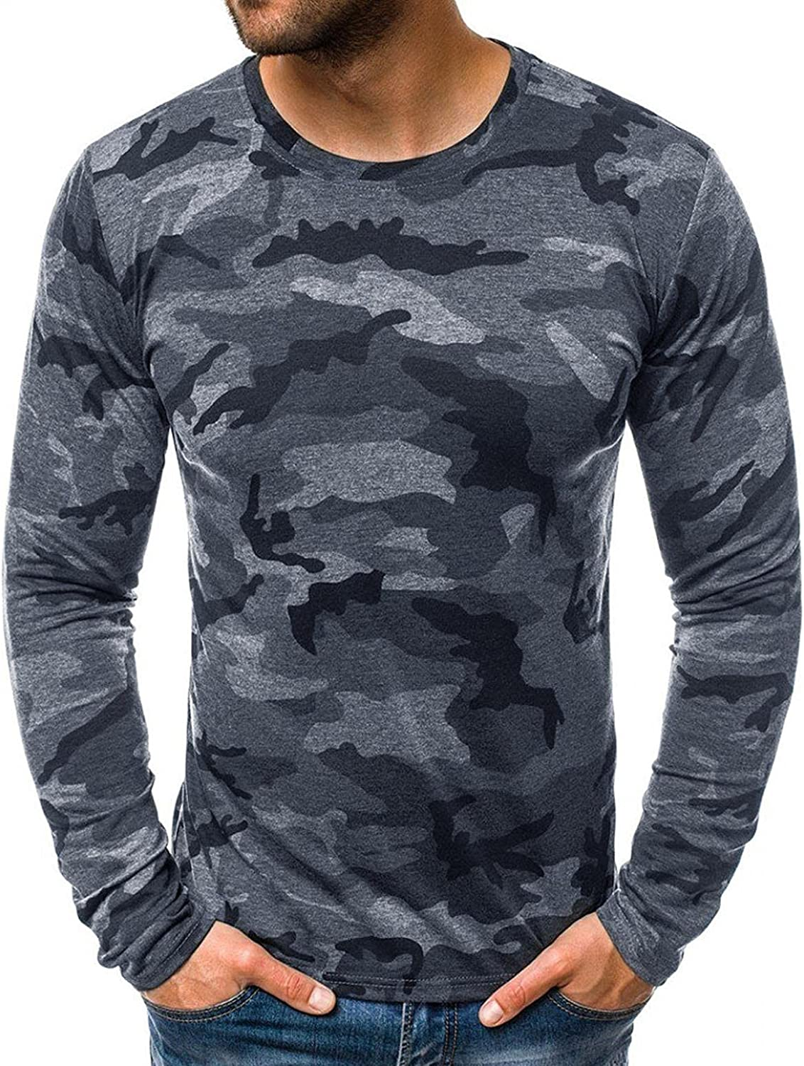 XUNFUN Mens Camouflage Printed T Shirt Slim Fit Long Sleeve Crewneck Stretch Military Muscle Workout Tops Blouse Baselayer