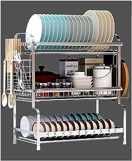 ステンレス製 食器乾燥 水切りラック シンク キッチン 収納 2段 かご 3段 大容量 付き 箸立て まな板立て ディッシュ 洗い物 皿立て 収納棚 台所用品ホルダ,シルバー54cm,3層タイプB