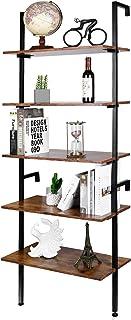 Tribesigns 6 Tier Industrial Bookshelf Ladder Shelf Bookcase Standing Shelf Unit for Living Room//Office//Balcony//Kitchen//Bedroom Plant Stand Maple Steel Frame Display Rack Shelf