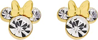 Minnie Mouse Silver Plated Crystal Stud Earrings (More Colors Available);