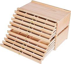 MEEDEN 10-Drawer Artist Supply Storage Box - Portable Foldable Multi-Function Beech Wood Artist Tool & Brush Storage Box w...