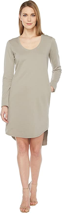 Cotton French Terry Long Sleeve Scoop Dress