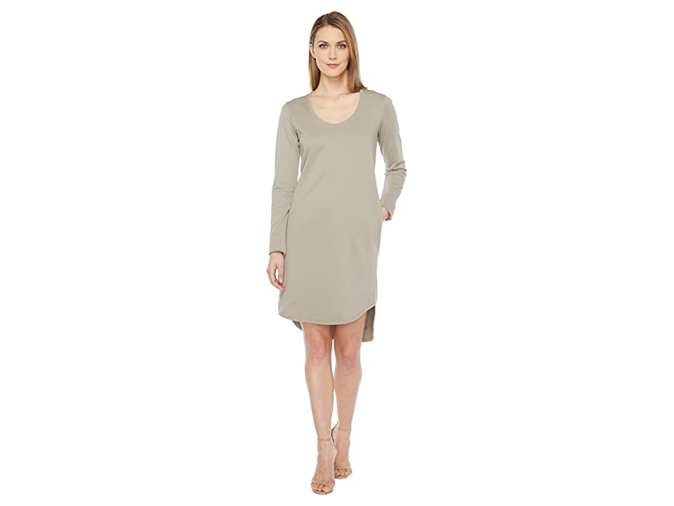 HEATHER Cotton French Terry Long Sleeve Scoop Dress (Boulder) Women