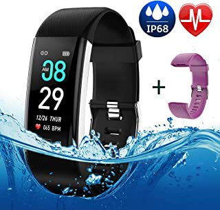 Fitness Tracker Color Screen, IP68 Waterproof Activity Tracker Smart Watch Remote Photography Heart Rate Blood