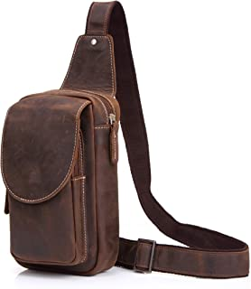 Everdoss Sling Backpack Leather Chest Pack Crossbody Travel Hiking Bag