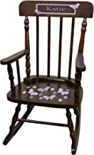 MyBambino Personalized Espresso Childrens Rocking Chair with Lavender Butterflies Design