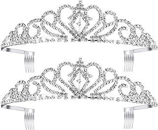 Best Pixnor 2 Pack Tiara Crown, Crystal Rhinestones Tiara Headband Comb Pin for Wedding Bridal Birthday Party Review