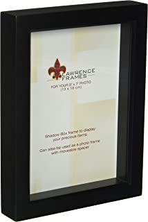 Lawrence Frames 795057 Black Wood Treasure Box Shadow Box Picture Frame, 5 by 7-Inch