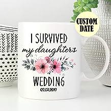 ArthuereBack Ich überlebte Meine Töchter, die Kaffeetasse-personalisierte Kaffeetasse Hochzeits-Tasse-personalisierte Tasse-Mutter del Braut-Hochzeits-Geschenks Wedding son