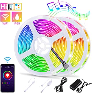 WiFi LED Strip Lights Kit 32.8FT LEDGLE Smart WiFi Voice Phone APP Controlled 10m Lights Strip RGB Dimmable 5050 LED Tape Lights Waterproof IP65 Work with Alexa, Google Home, IFTTT, iOS and Android