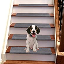 Jorviz Bullnose Carpet Stair Treads Set of 14 Soft Non Slip Self Adhesive Indoor Stair Protectors Pet Friendly Rugs Covers...