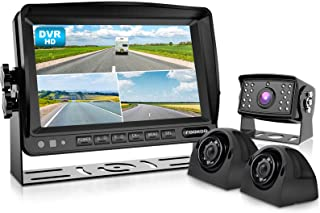 $259 » FookooⅡHD Wired Backup Camera System, 7'' Quad Split Screen Monitor IP69 Waterproof Rear View Side View Cameras with Recor...