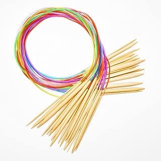 NOVSIX Round Bamboo Circular Knitting Needles Set incluye 18 tamaños: 1 mm - 10 mm