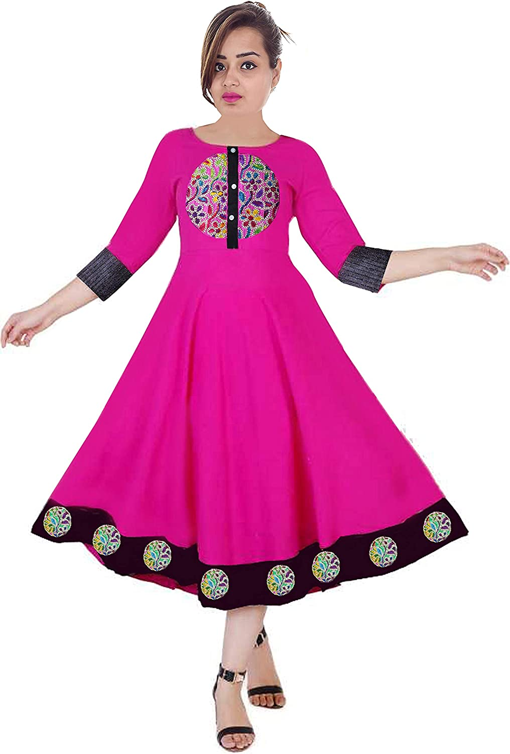 Lakkar Haveli Women Long Dress Pink Embroidered Long Tunic Indian Frock Suit Ethnic Party Wear Maxi Dress