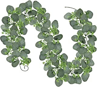 6' Long Faux Seeded Eucalyptus Garland Fake Silver Dollar Eucalyptus Leaves Greenery Hanging Garland Vine Table Runner Garland Artificial Silk Eucalyptus Decorations for Wedding Christmas Holiday
