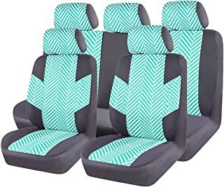 CAR PASS HOMESTYLE Linen Universal Fit car seat Covers with Opening Holes for headrest and seat Belt,Airbag Compatiable (Black with Green)