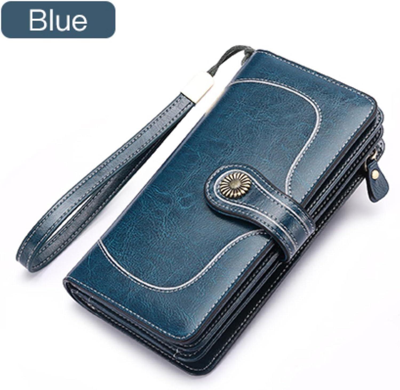 Large Capacity Split Leather Card Holder Wallet Long Women Wallet Zipper Clutch Casual Zipper Retro Purse