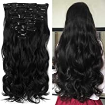 'Never País Beauty 22Full de cabeza de clip en el pelo de verlangerungen Ombre Wavy Curly DIP Dye 7pcs 16Clips Hair Extensions Hair Piece Natural Black