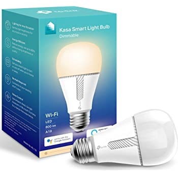 Kasa Smart KL110 Light Bulb, LED Smart Wi-Fi Alexa Bulbs works with Alexa and Google Home, A19 Dimmable, 2.4Ghz, No Hub Required, 800LM Soft White (2700K), 10W (60W Equivalent)