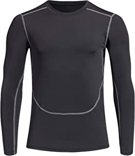 Siboya Men's Sports Cool Dry Long Sleeve Compression Shirt (Pack of 1 or 3)