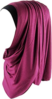 Cotton Jersey Hijab Scarf Glittering Gold Sequins Scarf Wrap for Women