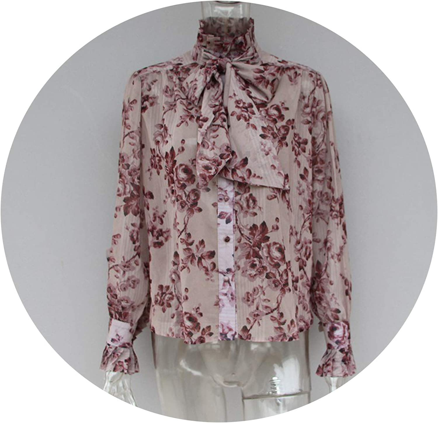 Crack of dawn Casual Print Tops Female Bowknot Lace Up Turtleneck Lantern Long Sleeve Shirts Blouse Women 2019 Spring