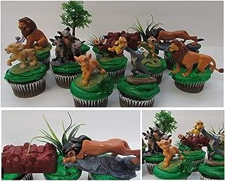 LION KING 11 Piece Birthday CUPCAKE Topper Set Featuring Simba, Nala, Scar, Timon, Zazu, Hyena's, and Mufasa, Themed Decorative Accessories, Figures average 2