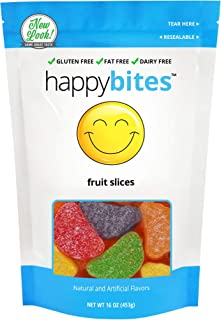 Happy Bites Assorted Fruit Slices - Gluten Free, Fat Free, Dairy Free - Resealable Pouch (1 Pound)