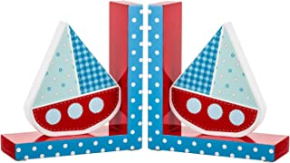 Borders Unlimited Ahoy Sailboat Wooden Children's Bookends, Red, White, Blue
